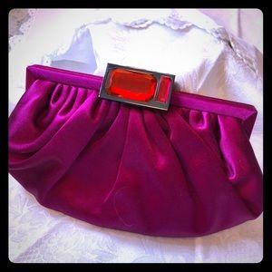 Ann Taylor Magenta Satin Evening Bag